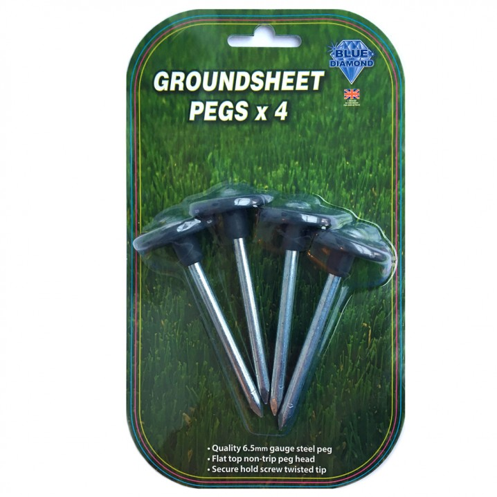 Metal Groundsheet Pegs x 4 - Blister Packed