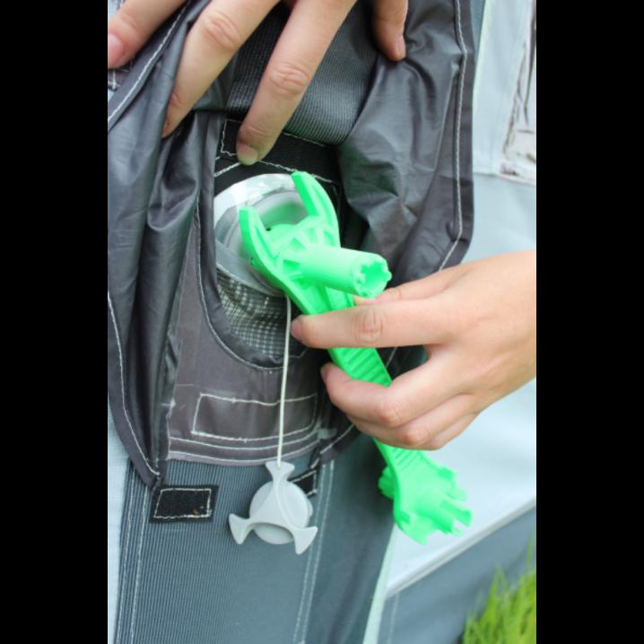 Green Universal Air Mate Tent & Awning Valve Tightening / Loosening Spanner Tool – Lifestyle Shot