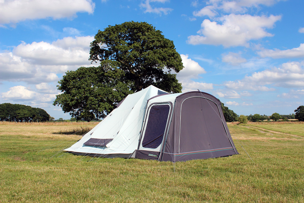The u201cCrossoveru201d from Outdoor Revolution is perfect for small families/couples and can sleep up to 4 people in two double-bedroom compartments. & Crossover: Contemporary Pole and Sleeve Family Bell Tent