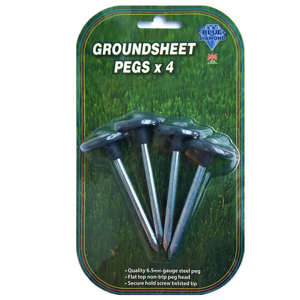 Metal Groundsheet Pegs X 4 Blister Packed