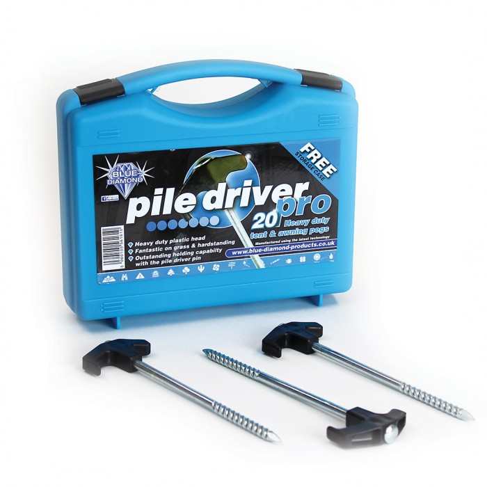 boxed in 20 Pile Driver Pro  Rock Pegs Awning Tent Pegs Blue Diamond