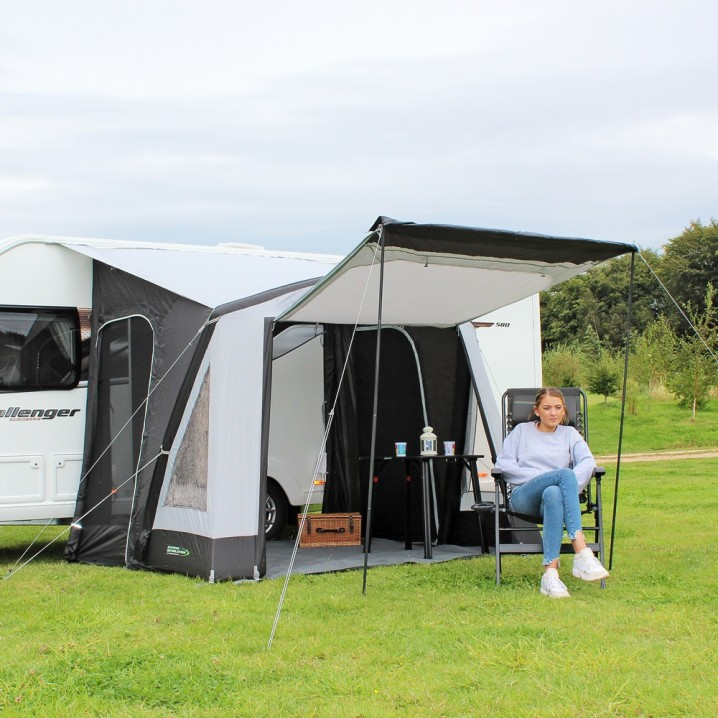Premium Excellent Value Lightweight Single Point Inflation Inflatable Small Family Touring Caravan Porch Awning – Hero Shot