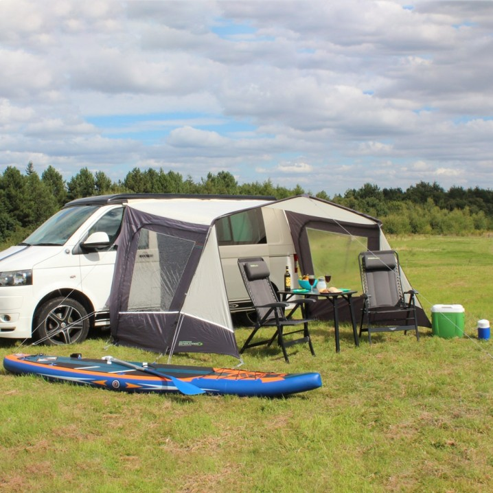 Lightweight Adjustable Campervan Sun Shade Canopy Extension for Storage, Dining, Cooking & Shelter – Open Side Elevation
